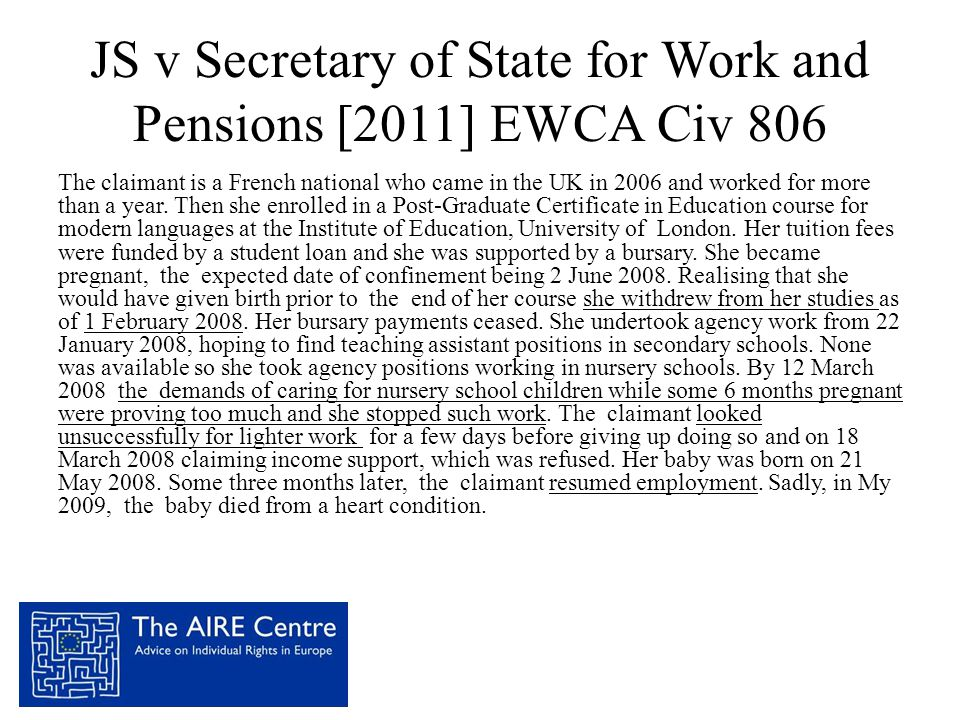 JS v Secretary of State for Work and Pensions [2011] EWCA Civ 806